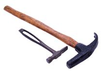 Antique Cobbler's Hammers. Pair of hand forged antique cobbler or shoemaker's hammers, one with a hand hewn hammer handle Stock Image