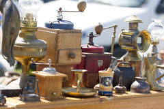 Antique coffe makers at flea market Stock Photography