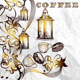 Antique coffee background with grains and shiny lamps on a paper Royalty Free Stock Photography