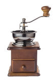 Antique coffee grinder. Isolated on white background royalty free stock photo