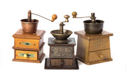 Antique coffee grinders stock photography