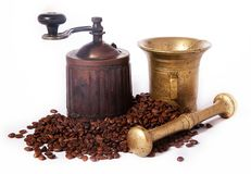 Antique coffee mill on white background Stock Photos