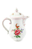 Antique coffee pot of historicism time area. Antique coffee pot of historicism time area around 1860. floral ornaments. isolated white background Stock Photography