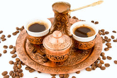 Antique Coffee Set. Copper Plated Antique Coffee Set for Turkish coffee Royalty Free Stock Photo
