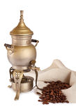 Antique coffeepot with spirit lamp Royalty Free Stock Photo