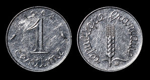 Antique coin of 1 centime Stock Photo