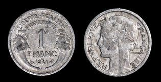 Antique coin of 1 franc Royalty Free Stock Image