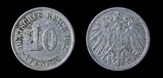 Antique coin of 10 pfennig. 1912. Antique german coin of 10 pfennig. 1912 Stock Images
