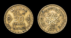 Antique coin of 20 francs Stock Images