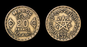 Antique coin of 20 francs Royalty Free Stock Images