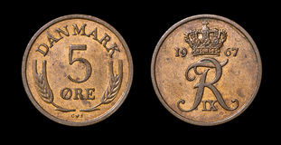 Antique coin of 5 ore Stock Images