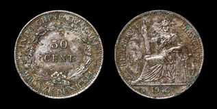 Antique coin of 50 centimes Royalty Free Stock Photography