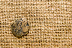 Antique  coin with portrait of emperor on old cloth. Antique bronze coin with portrait of emperor on old cloth Stock Photos