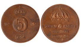 Antique coin of sweden 1921 year Stock Photography