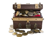 Antique Coin treasure. Antique wood Coin treasure with safe Stock Photos