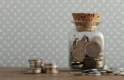Antique coins. Old coins on the wooden table stock photo