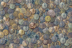 Antique coins. Different antique coins photographed in close-up Royalty Free Stock Photo