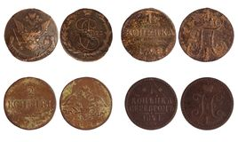 Antique coins of russia 1773-1841 years Stock Images