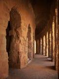Antique coliseum hallway. In Tunisia stock image