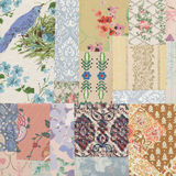 Antique Collage of shabby chic vintage wallpapers royalty free stock images