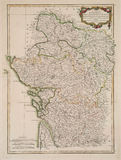 Antique colored map of France region. 1771 map of center west France Royalty Free Stock Photos