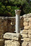 Antique column in Agrippa palace, Israel Royalty Free Stock Photo