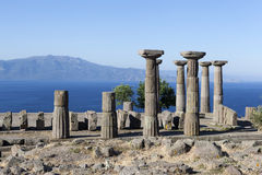 Antique column off the coast of the Aegean Sea. Troy. Turkey. Troy and Dardania Scamander - the ancient fortified settlement in Asia Minor coast of the Aegean Royalty Free Stock Image