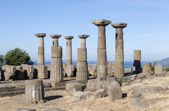 Antique column off the coast of the Aegean Sea. Troy. Turkey. Troy and Dardania Scamander - the ancient fortified settlement in Asia Minor coast of the Aegean stock images
