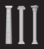 Antique Columns. Antique Greek Column illustrations on black background Stock Images