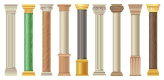 Antique columns and pilars set, classic stone columns in different styles vector Illustrations on a white background stock illustration