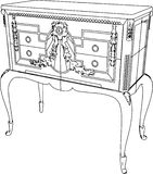 Antique Commode Vector 01. Antique Commode High Detail Vector Stock Images