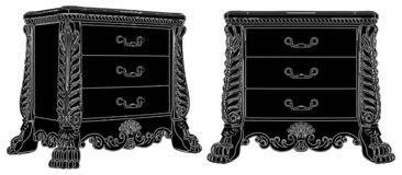 Antique Commode Vector 09 Royalty Free Stock Photo
