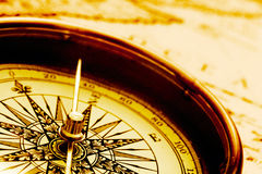 Antique compass. Close-up view of antique compass royalty free stock photography