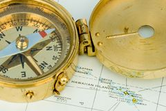 Antique Compass. Used by explorers for finding directions and reading a map or chart Stock Images