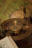 Antique compass. (journey, ancient, copper stock photo