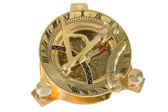 Antique compass. Antique, bronze compass on white royalty free stock images