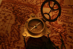 Antique compass on antique map (Asean region) royalty free stock images