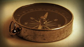 Antique Compass (macro close-up) stock footage