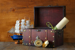 Antique compass, manuscript, old vintage chest on wooden table Stock Image