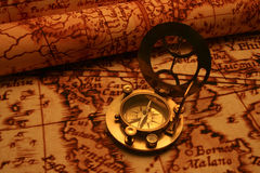 Antique compass on map (Asean region) Royalty Free Stock Images