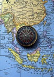 Antique compass on map (South East Asian Region) Royalty Free Stock Images