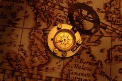 Antique compass on old map (Asean region) Royalty Free Stock Image