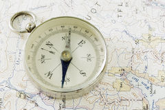Antique Compass, Prospecting Map, And Gold Stock Photo