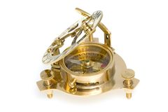 Antique compass with sundial. Stock Images