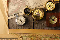 Antique compasses over old map Royalty Free Stock Image