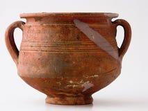 Antique container. Isolated genuine antique container, clay Stock Image