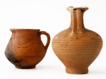 Antique containers. Isolated genuine antique containers, clay Royalty Free Stock Photo