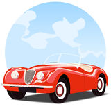 Antique convertible car. With sky background royalty free illustration