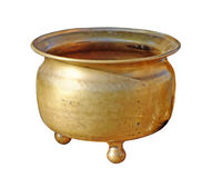 Antique copper chamber-pot. Isolated on white with clipping path royalty free stock photo