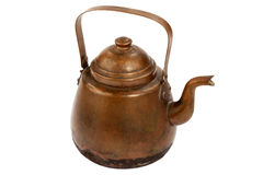 Antique copper coffee pot. On white background Royalty Free Stock Photography